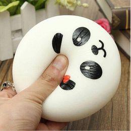 Amuleto de panda online-4 cm Jumbo Panda Squishy Charms Kawaii bollos Pan Cell Phone Key / Bolsa de correa colgante Squishes Bag Parts Accessories