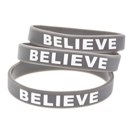 Justin bieber braceletes pulseiras on-line-100 Pçs / lote Justin Bieber Believer Pulseira De Silicone Mostre O Seu Apoio Para Eles Usando Esta Pulseira