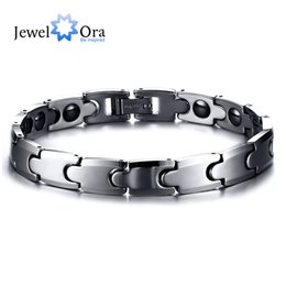 Wholesale Health Energy Care Bracelet - Wholesale- Hot 180mm Titanium Steel Care Magnet Bracelet Trendy Health Energy Bracelet & Bangle Punk Men Wrist Chain (JewelOra BA101418)