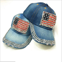 2019 denim usa jeans Justierbare Hüte Denim Diamant USA Nation Flag Design Jean Baseballmütze Hip Hop Hut Jean Hats Mode Curved Baseball-Mütze rabatt denim usa jeans