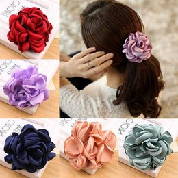 Wholesale Hair Elastics Flowers - 2017 Big Rose Flower Elastics Hair Holders Rubber Bands Girls Women Kawaii Cute Tie Gum Fabric Hot Sale Headwear Accessories