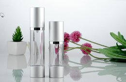 Wholesale aluminum airless cosmetic bottles wholesale - 2017 New 30ML Refillable Airless Lotion Pump Bottle With Silver Pump Aluminum Over Cap airless cosmetic cream pump containers