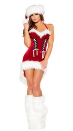 Wholesale Mrs Santa Fancy Dress - Miss Santa Claus Costume Womens Mrs Father Christmas Xmas Fancy Dress Outfit VLS031
