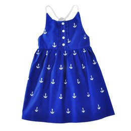 Wholesale Baby Girl Anchor Clothing - Summer Kids Dress Baby Clothes Girls Princess Party Dress Boat Anchor Printed Cotton Girls Dresses Skirt Children Kids Clothing