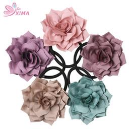 Wholesale black ponytail holders - XIMA 10PCS Fashion Girls Hair Ropes Beauty Rose Flower Elastic Black Bands Women Flower Ponytail Holder Hair Accessories PTH003