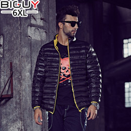 Wholesale Guys Coats - Wholesale- BIG GUY Large Size Ultra Light Duck Down Jacket Men 2016 Winter Lightweight Coat Solid Red Black Blue Green 1323