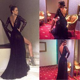 Wholesale Long Fashionable Party Dresses - Fashionable Black Lace Prom Dresses 2017 Long Sleeve Side Split Formal Evening Gowns Open Back Women Party Dress