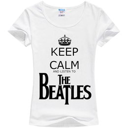 Wholesale Wholesale Silk Tops For Women - Wholesale-New 2015 Keep calm and listen to The Beatles Printed Tshirt For Women pure milk silk Casual Fashion White Shirt Top Tee