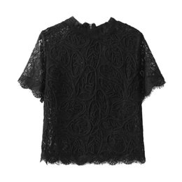 Wholesale Ladies Party Blouses - Women Short Sleeve Lace shirt Lady Summer Black Zipper Blouse Party Clubwear 3 Color