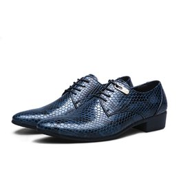 Wholesale Snake Skin Men Shoes - Men's Fashion Business Wedding Dress Shoes Snake Skin Pattern Leather Shoes Casual Pointed Toe Flats Shoe Oxfords Party