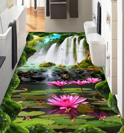 Wholesale Lotus Bedding - 3d flooring Custom wallpaper scenery for walls Waterfall lotus carp 3d floor wallpapers for bed room 3d floor painting