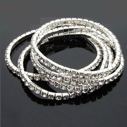 Wholesale Box Clasp Sterling - 100pcs 925 Sterling Silver Plated Spring 1-Row Line Clear Rhinestone Crystal Bracelet Tennis Bracelets Cubic Zircon Bangles