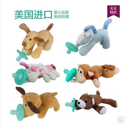 Wholesale Toy Pacifiers - Newborn silicone funny baby pacifier clips chain wubbanub animal pacifier with plush toy soother nipple dog monkey caterpillar