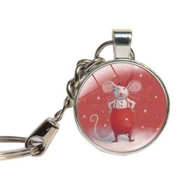 Wholesale Glass Tale - Mouse Stuart Little Keychains Glass Dome Fairy Tale Mouse Animal Key Rings Cartoon Key Chains Glass Cabochon Key Holder Jewelry