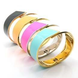Wholesale Chinese Gold Plated Bangles - Wholesale- 4 Color Bracelet Pulseiras Chinese Traditional Design Yellow Bule Pink White Ceramic Enamel Cuff Bangles For Women Gifts Jewelry