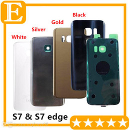 Wholesale Door Edges - Battery Door Back Cover Glass Housing + Adhesive Sticker For Samsung Galaxy S7 G930 G930F G930T vs S7 edge G935 G935F G935T 10pcs Lot