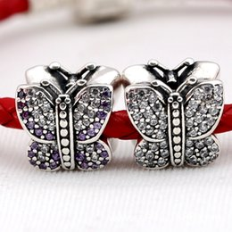 Wholesale 925 Stamped Sterling Silver Pendant - Stamped S925 925 Sterling Silver Sparkling Butterfly Charm Bead with CZ Fits European Style Jewelry Bracelets Necklaces Pendants