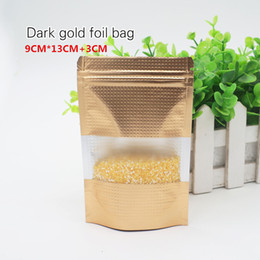Wholesale Aluminum Grades - 9*13+3cm Dark gold foil self-styled stand bag Food grade material Food packaging store Ornaments bags Spot 100  package