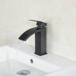 Wholesale Oil Rubbed Faucets Bathroom - Wholesale- Waterfall Spout Bathroom Basin Torneira Oil Rubbed Black Bronze Deck Mount 8319-1 6 Single Handle Sink Faucets,Mixers &Taps