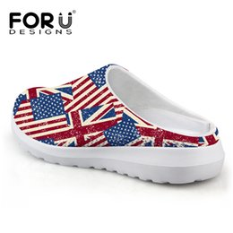 Wholesale Usa Ties - Wholesale-Casual Unisex Sandals Men Summer Shoes Breathable UK USA Flag Beach Sandals Mesh Lighted Shoes Outdoor Slip-on Women Slippers