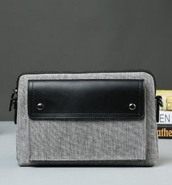 Wholesale Korean Caught - Factory sales brand package Japanese gray canvas men caught street fan trend canvas with leather hand bag fashion color single shoulder bag