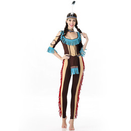 Wholesale Native Indian Costumes - Sexy Indian Cosplay Costume Women Native Fancy Dress Halloween Carnival Party Dress Indigenous Dance Primitive Performance Suit