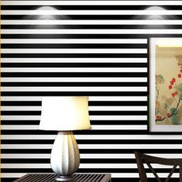 Wholesale Vertical Stripes Wall Paper - papel de parede. 10M volume black and white wide stripes vertical stripes wallpaper 3d wallpaper simple decoration, wall paper