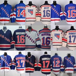 Fabrika Outlet erkek New York Rangers # 12 Staal # 14 Shanahan # 16 Avery Brassard # 17 Dubinsky Bej Mavi Beyaz buz hokeyi formaları ücretsiz shippi nereden