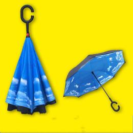 Wholesale Wholesale Umbrella Logo - Umbrella Creative Double Layer Reverse Advertising Car Hands Free Can Stand The Umbrellas Customizable LOGO Many Designs Choose 27 8fs R