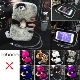 Wholesale Iphone Case Leopard Crystal - Luxury Leopard Rabbit Fur Phone Case for iphone X 8 7 6 6S plus Cover with Diamond Crystal Straps Ring Stand Back Case
