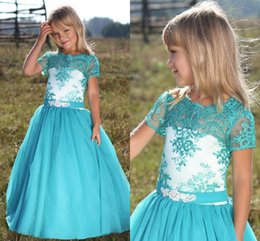 Wholesale Turquoise Dresses Kids - Turquoise Flower Girl Dresses 2018 Jewel Short Sleeve Lace A Line Kids Formal Pageant Wear Toddler Wedding Guest Party Gown Christmas 2017
