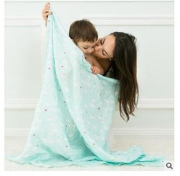 Wholesale Blankets For Newborns - Baby Swaddle Muslin Blankets 2017 Cartoon Printed Cotton Baby Blanket Soft Breathable For Newborn Photography Props Basket DHL Free Shipping