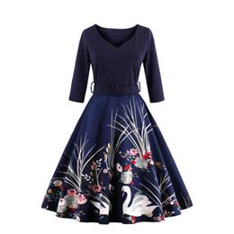 Wholesale Fall Tunics - 2017 Fall Winter woman dress plus size vintage dress 50s fudrey hepburn print robe female party retro dress Tunic Vestidos FS1163
