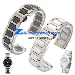 Wholesale Watch Band 18mm White - Wholesale-16mm 18mm 20mm ceramic Bracelet and stainless steel watchband white or black watch band watch strap Butterfly Buckle wristband