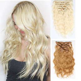 Wholesale Water Wave Remy Extensions Colors - Grade 8A Clip In Hair Extensions Curly 100% Human Hair #613 Blonde Water Wave Remy Hair Extensions 10PCS Set Direct Factory Price