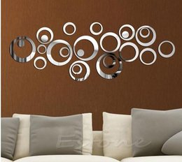 Wholesale Wall Decals Circles - Modern Europe decorate style Circles Mirror Style Removable Decal Vinyl Art Mural Wall Sticker Home Decor FAN