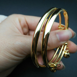 Wholesale gold bracelets for kids - Children's Jewelry 18K Yellow Gold Plated Plain Glossy Adjustable Bangles Bracelets with Bells Charms for Baby Toddler Kids Girls
