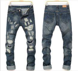 Wholesale Motor Jeans - Men Ripped Jeans Hip Hop Designs Men Jeans Trousers Destroyed Mens Slim Motor Denim Pants Straight Biker Skinny Jeans J161205