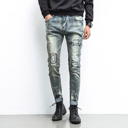 Брендовая одежда дешево онлайн-Wholesale-New Style Patchwork Mens Jeans Straight Regular Fashion Cheap Small Straight Mens Jeans Brand Clothing Cotton Mens jeans China