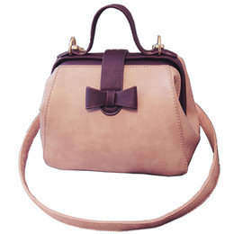Wholesale Vintage Leather Doctors Bag - Wholesale- 2016 Women's Handbag Vintage Doctor Bag Leather Cute Bow Small Handbags Women Pink Shoulder Messenger Crossbody Bag Tote Bolsa