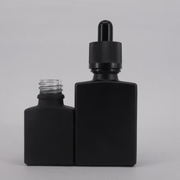 Wholesale Flat Perfume Bottles - Hot selling 30ml Eliquid bottle Frosted black Glass tube dropper bottle Flat square Perfume bottle with Childproof cap & Rubber