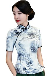 Wholesale Fashion Linen Blouses - Shanghai Story Short Sleeve Chinese cheongsam top traditional Chinese Top Women's Vintage blouse top + Linen Skirt