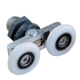 Scivoli di swing online-Altalena a doppia ruota doccia puleggia in vetro porta scorrevole rullo appeso ruota famiglia hardware parte mobili