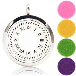 Wholesale Clock Locket Necklaces - Stainless Steel Imitation Clock Necklace Aromatherapy Lockets Jewellery Magnetic Lockets Essential Oil Diffuser Necklace Perfume Lockets