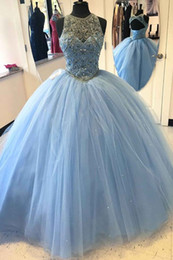 Wholesale White Tull Dress - Sexy Light Blue Tull Ball Gown Dresses Evening Wear 2018 Lace up Hollow Crystal beaded sequins Ruffle Formal Evening Prom Gowns Party Dress