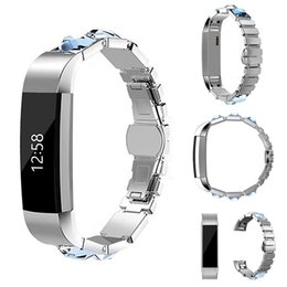 Wholesale Metal Strap Wrist Watch - For Fitbit Alta HR Bands Jewelry Replacement Stainless Steel Watch Bands Metal clasp Bracelet Bangle Wrist band Straps Retail Package