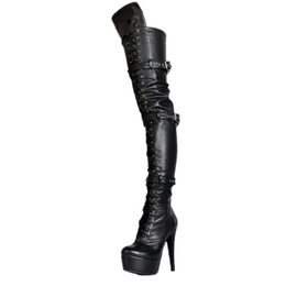 Wholesale Platform Thigh Boots - Kolnoo Handmade Womens 2017 New Arrival High Heel Platform Thigh-high Boots Pull Off Large Size Fashion Winter Party Dress Shoes XD340