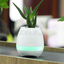 Wholesale Decorative Plastic Buttons - Hot mini smart flowerpot sensor Bluetooth speakers Flower pot Plastic Green plant pots decorative Macetas pot Playing Smart Music