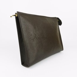 Wholesale Cosmetics Makeup Bags - Free Shipping New Travel Toiletry Pouch 26 cm Protection Makeup Clutch Women Genuine Leather Waterproof Cosmetic Bags For Women 47542
