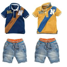 Wholesale baby clothing polo - Casual Baby Boys Clothes Suits Children Polo T-Shirt + Shorts Jeans 2-Pieces Clothing Sets Kids Tee Shirts Panties Boy's Outfits Jersey